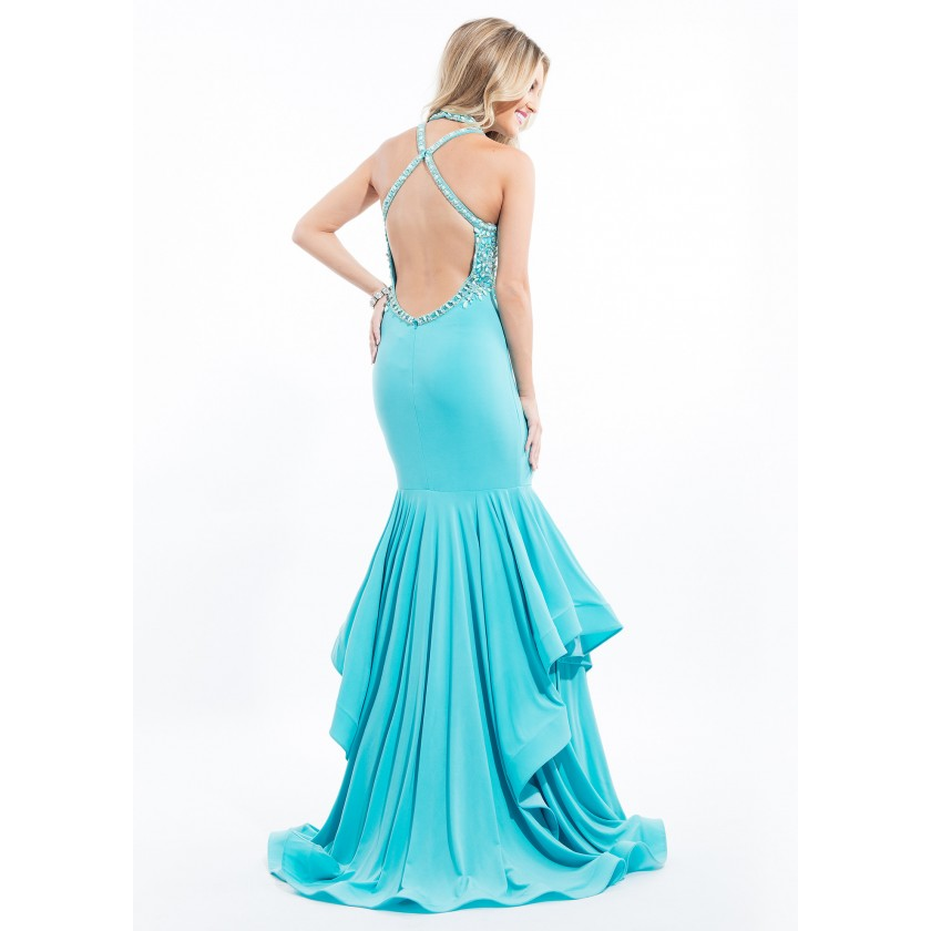 Blue Rachel Allan 7151 Sexy Fitted Jersey Mermaid Gown for $498.00