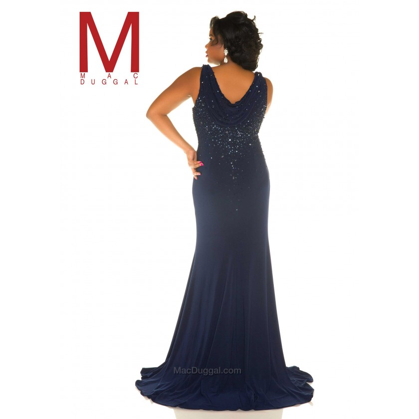 Blue Mac Duggal 76996F Jeweled Halter Style Plus Size Prom Gown for $578.00