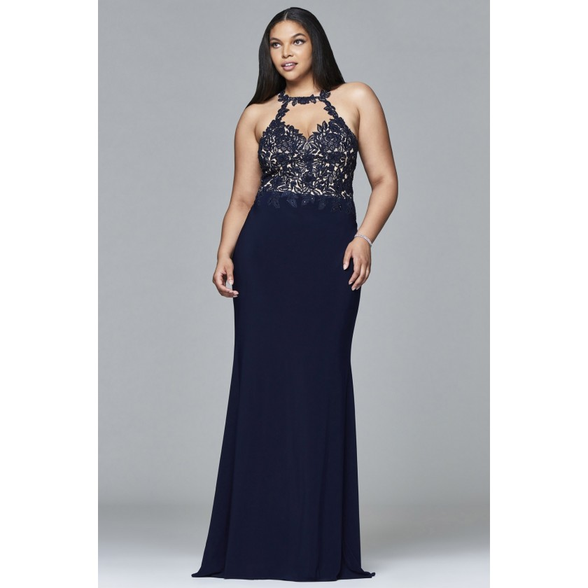 Blue Faviana 9394 Stretch Jersey Long Plus Size Dress for $418.00
