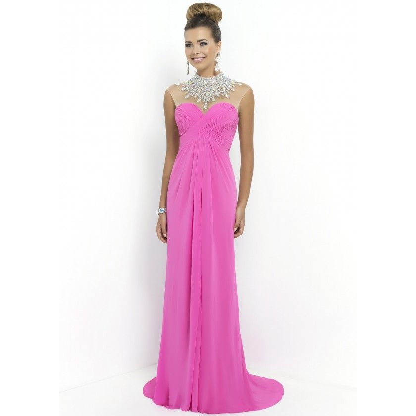 Pink Blush 9952 Jeweled Necklace Chiffon Gown for $379.00
