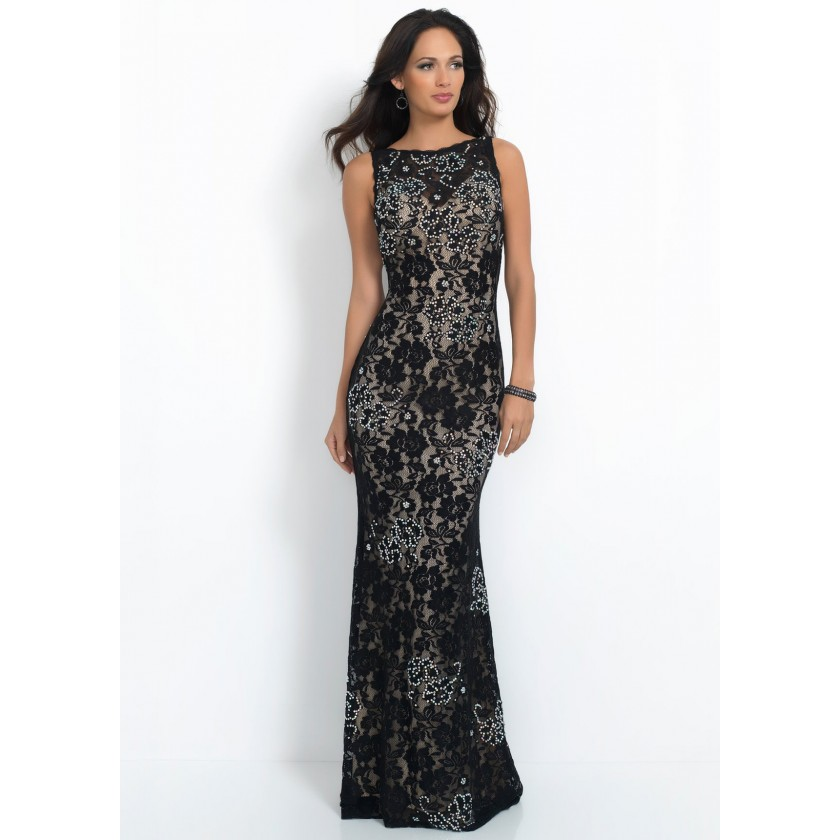Champagne, Nude Intrigue 41 Elegant Beaded Open Back Prom Dress for $319.00