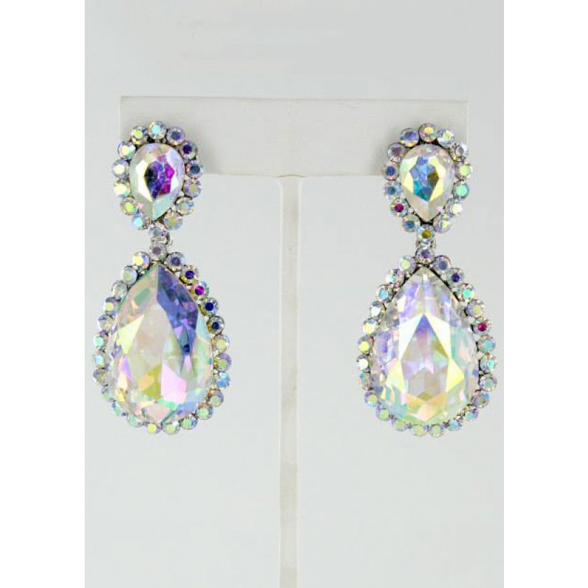 Silver Helen's Heart Style JE-4601-10 AB Silver Prom Earrings for $34.00