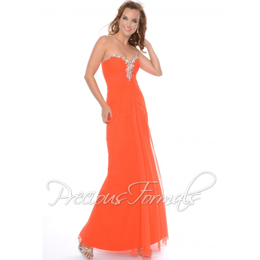 Orange Precious Formals P21011 Strapless Illusion Dress for $378.00