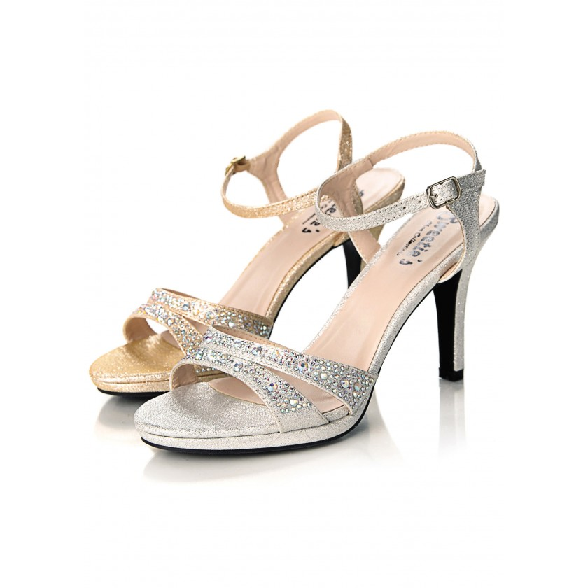 Nude, Silver Sweetie's Sylvia Jeweled Peep Toe Shoes for $63.00