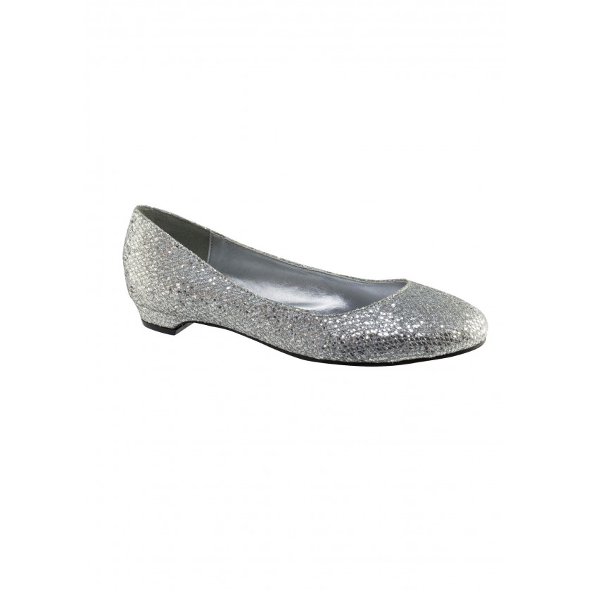 Silver Tamara by Touch Ups Silver Glitter Flats for $60.00