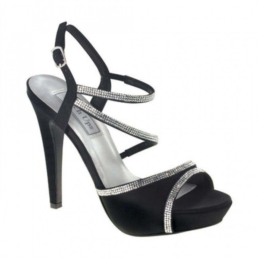 Black Allie by Touch Ups Strappy Satin Shoes for $80.00
