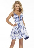 Alyce 3090 Blue Floral Print Short Dress