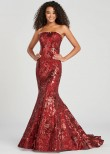 Colette CL12088 Strapless Wine Sequin Mermaid Gown