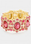 Gold Fuchsia Pink Crystal Beaded Stretch Bracelet