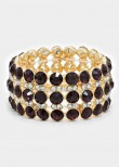 Amethyst Glass Crystal Bubble Stretch Bracelet
