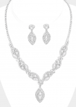 Marquise Pearl Drop Crystal Rhinestone Necklace Set