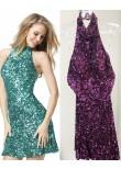 Sherri Hill 51346 Vibrant Sequin Halter Dress with Open Back